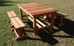 Redwood Collection:  Custom 6-foot table and 4 benches