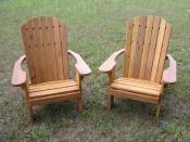 Click to enlarge image Chairs stained with Behr`s Cedar Wood Preservative - Standard Adirondack Chair -