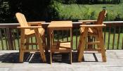 Click to enlarge image The chairs and table can be customized to match the height of your deck railing. - Deck Table -