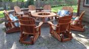 Click to enlarge image This redwood fire pit table is surrounded by 8 redwood gliders. - Fire pit table -