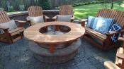 "Click to enlarge image The table is 5 feet in diameter and stands 12 1/2"" above the fire pit. - Fire pit table -"