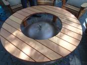 "Click to enlarge image The 32"" hole in the middle accommodates a bell-shaped cover. - Fire pit table -"