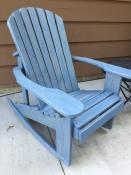 Click to enlarge image Rocker stained with Behr's semi-transparent wedgewood blue. - Adirondack Rocker -
