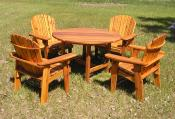 Click to enlarge image Big Boy Garden Chairs and table stained with Sikkens Cetol-Cedar - Garden Table  -
