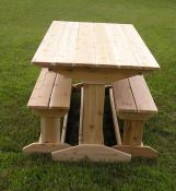 Click to enlarge image The benches nestle neatly under the table. - Trestle Picnic Table, Benches - Very sturdy, yet easy to move